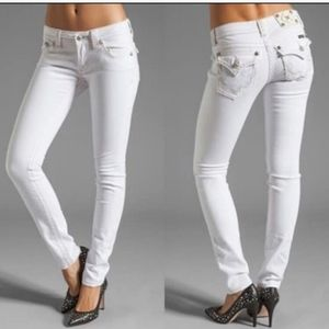Miss Me Heavy Stitch Flap Pocket White Skinny Jean
